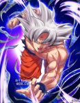 1boy artist_name blue_background clenched_hand commentary_request dirty dougi dragon_ball dragon_ball_super dragonball_z fighting_stance fingernails frown grey_eyes grey_hair highres looking_at_viewer male_focus muscle open_mouth outstretched_arms purple_background serious shaded_face shirtless short_hair simple_background son_gokuu spiky_hair spoilers translation_request twitter_username ultra_instinct watermark wristband