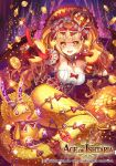 1girl age_of_ishtaria blonde_hair bow bracelet breasts cleavage coin company_name copyright_name crown curly_hair fafner_(age_of_ishtaria) fang gem gloves jewelry long_hair madopen mermaid monster_girl necklace official_art open_mouth ring sitting sparkle star stuffed_animal stuffed_toy twintails upper_body yellow_eyes