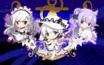 3girls :o ahoge apron azur_lane bangs bare_shoulders belfast_(azur_lane) black_bow black_dress black_footwear black_ribbon blue_eyes blush bow chibi closed_mouth commentary_request dress eyebrows_visible_through_hair frilled_apron frills hair_between_eyes hair_bun hair_ornament hair_ribbon hat head_tilt highres holding holding_stuffed_animal illustrious_(azur_lane) long_hair maid maid_headdress multiple_girls niji_okanatsuko one_side_up pantyhose parted_lips purple_hair ribbon see-through shoes side_bun silver_hair smile strapless strapless_dress stuffed_animal stuffed_pegasus stuffed_toy stuffed_unicorn unicorn_(azur_lane) very_long_hair violet_eyes white_apron white_dress white_footwear white_hat white_legwear