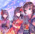 3girls :d bangs blue_kimono blue_sky blush braid brown_hair character_request commentary_request day eyebrows_visible_through_hair floral_print flower fur_trim fusou_(kantai_collection) gloves green_eyes grey_gloves hair_between_eyes hair_flaps hair_flower hair_ornament holding japanese_clothes kantai_collection kimono lens_flare long_hair long_sleeves looking_at_viewer multiple_girls obi open_mouth outdoors purple_kimono red_eyes red_kimono rioka_(southern_blue_sky) sash shigure_(kantai_collection) sky smile standing wide_sleeves yamashiro_(kantai_collection)