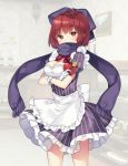 1girl alternate_costume apron bangs bekotarou blush bottle bow bowtie breasts brown_eyes chocolate chocolate_heart cleavage commentary_request cowboy_shot crossed_arms enmaided eyebrows_visible_through_hair gift gloves hair_bow heart holding holding_gift indoors looking_at_viewer maid medium_breasts puffy_short_sleeves puffy_sleeves purple_bow purple_scarf red_neckwear redhead scarf sekibanki short_hair short_sleeves solo striped touhou waist_apron white_apron white_gloves wine_bottle