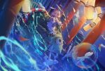 1girl :d animal_ears bangs blurry blurry_foreground commentary_request creature depth_of_field fantasy highres japanese_clothes kimono lantern long_sleeves miemia obi onmyouji open_mouth original paper_lantern pink_hair rabbit_ears red_eyes riding sash seiza short_hair sitting smile solo wide_sleeves
