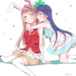 2girls animal_ears arm_support bangs blue_hair blush chocore cosplay costume_switch earrings eyebrows_visible_through_hair gloves grey_hair hair_between_eyes hug hug_from_behind jewelry kneeling korekara_no_someday long_hair looking_at_viewer love_live! love_live!_school_idol_project minami_kotori multiple_girls one_side_up open_mouth rabbit_ears ribbon simple_background sitting sleeveless sonoda_umi star thigh-highs white_background white_gloves white_legwear yellow_eyes