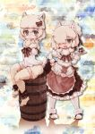 2girls :3 alpaca_ears alpaca_huacaya_(kemono_friends) alpaca_suri_(kemono_friends) alpaca_tail alternate_costume barefoot barrel bow fluffy_legwear fur_collar fur_trim gift hair_over_one_eye hand_in_front_of_face hand_on_hip hat hat_bow heart heart-shaped_pupils highres kemono_friends kolshica maid multiple_girls muted_color neck_ribbon open_mouth ribbon short_hair shorts symbol-shaped_pupils thigh-highs tray