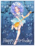 1girl :d anklet bare_legs blue blue_background blue_bow blue_eyes blue_hair blue_shirt blue_skirt blush bow crown full_body hair_bow happy_birthday jewelry kirakira_precure_a_la_mode looking_at_viewer mini_crown nene_(oneoneo13) open_mouth polka_dot_skirt precure sailor_collar sandals shirt short_hair skirt smile solo spoon star star_in_eye starry_background symbol_in_eye tategami_aoi white_sailor_collar