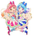 2girls aikatsu! aikatsu_friends! aqua_bow blue_bow blue_dress blue_footwear blue_hair bow choker curly_hair dress earrings eyebrows_visible_through_hair hand_holding heart high_heels idol_clothes interlocked_fingers jewelry long_hair looking_at_viewer minato_mio multicolored_hair multiple_girls official_art open_mouth orange_hair outstretched_hand pink_bow pink_dress pink_footwear pink_hair pointing pointing_at_viewer purple_hair short_eyebrows smile violet_eyes white_background wrist_cuffs yellow_eyes yuuki_aine