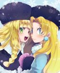 2girls blonde_hair blue_background braid coat crossover earrings fur_hat fur_trim green_eyes hat highres jewelry kalinka_cossack lillie_(pokemon) long_hair mittens multiple_girls one_eye_closed open_mouth pokemon pokemon_(anime) pokemon_sm_(anime) rockman rockman_(classic) simple_background smile snowflakes tkt_mayo winter_clothes winter_coat