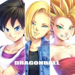 >:) 3girls android_18 black_hair black_shirt blonde_hair blue_eyes breasts caulifla copyright_name dragon_ball dragon_ball_super dragonball_z earrings eply eyebrows_visible_through_hair eyelashes frown green_eyes jewelry looking_at_viewer multiple_girls pink_tank_top purple_shirt shirt short_hair simple_background smile spiky_hair super_saiyan_2 tank_top videl waistcoat white_background white_shirt