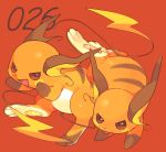 :d brown_eyes commentary_request fang hideko_(l33l3b) highres looking_at_viewer no_humans open_mouth pokemon pokemon_(creature) raichu red_background simple_background smile