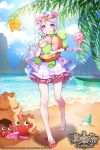 1girl absurdres age_of_ishtaria artist_name beach blue_hair bracelet braid company_name copyright_name crab flower hair_flower hair_ornament head_wreath highres jellyfish jewelry juras_mate_(age_of_ishtaria) kanola_u leaf loli multicolored_hair official_art pink_hair sand sandals sky solo sparkle star swimsuit teeth turtle twin_braids two-tone_hair violet_eyes water