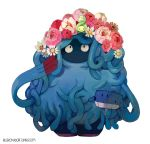bent_elbows bluekomadori bucket budew commentary daisy flower full_body highres holding_bucket looking_down looking_up pink_flower pink_rose pokemon pokemon_(creature) pokemon_(game) pokemon_dppt rose simple_background smile spilling standing tangrowth wailmer watermark web_address white_background