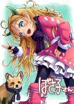 1girl :d absurdres animal bent_over black_legwear blonde_hair blue_eyes blue_gloves blue_scarf blush boots bright_pupils clothed_animal commentary_request copyright_request doitsuken dress fingerless_gloves fingernails fox frilled_dress frills fur_trim gloves hand_on_hip head_tilt heart highres horns long_hair long_sleeves looking_at_viewer looking_back open_mouth pantyhose pink_dress pink_footwear scarf smile translation_request violet_eyes