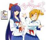 2girls bishoujo_senshi_sailor_moon blonde_hair blue_eyes blue_hair blur_censor bow censored clapping copyright_name cowboy_shot eyebrows_visible_through_hair hair_bow long_hair looking_at_another looking_at_viewer multiple_girls one_eye_closed pipimi pleated_skirt poptepipic popuko school_uniform scrunchie serafuku short_hair short_twintails shuri_(84k) sidelocks simple_background skirt tongue tongue_out tsuki_ni_kawatte_oshioki_yo twintails white_background yellow_eyes