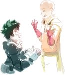 2boys bald belt_pouch black_belt blush boku_no_hero_academia cape closed_eyes crossover ears freckles gloves gradient green_hair highres holding holding_pencil male_focus midoriya_izuku multiple_boys notebook one-punch_man open_mouth pencil red_gloves rtil saitama_(one-punch_man) simple_background spiky_hair upper_body white_background white_gloves writing zipper zipper_pull_tab