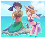 2girls bikini_top blue_eyes breasts cleavage dark_skin fins grey_eyes hat highres iesupa mermaid monster_girl multiple_girls rwby straw_hat swimsuit