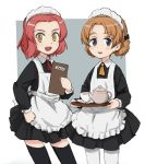 2girls alternate_costume apron ascot bangs black_dress black_legwear blue_eyes braid brown_eyes collared_dress commentary_request cowboy_shot cup dress enmaided eyebrows_visible_through_hair girls_und_panzer grey_background hand_on_hip holding long_sleeves looking_at_viewer maid maid_apron maid_headdress menu multiple_girls nogitatsu open_mouth orange_hair orange_pekoe outside_border pantyhose parted_bangs red_neckwear redhead rosehip saucer short_dress short_hair smile standing teacup teapot thigh-highs tied_hair tray twin_braids white_legwear yellow_neckwear