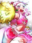 1girl :o angry cowboy_shot cure_yell earrings gradient gradient_background grey_background hair_ornament heart heart_hair_ornament hugtto!_precure jewelry kagami_chihiro layered_skirt long_hair looking_at_viewer magical_girl navel nono_hana open_mouth pink_eyes pink_hair pink_shirt pink_skirt pom_poms precure shirt skirt sleeveless sleeveless_shirt solo thigh-highs white_background white_legwear zettai_ryouiki
