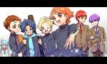 1girl 6+boys arisugawa_himari blazer blonde_hair blue_hair brown_hair crossed_arms gakuran genderswap genderswap_(ftm) genderswap_(mtf) hood hoodie jacket julio_(precure) kenjou_akira kirahoshi_ciel kirakira_precure_a_la_mode kotozume_yukari multiple_boys orange_hair precure purple_hair redhead school_uniform serafuku sweatdrop tategami_aoi usami_ichika v yoshimi_(ysm_8883377)