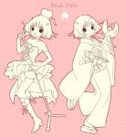 1girl :d bangs bare_shoulders boots cross-laced_footwear dress elbow_gloves eyebrows_visible_through_hair fish_bone food fruit gloves heart holding holding_microphone hoozuki_no_reitetsu horns japanese_clothes kimono knee_boots lace-up_boots long_sleeves microphone microphone_stand monochrome multiple_views obi open_mouth peach peach_maki pink_background polka_dot polka_dot_background sash sepia short_hair skeleton smile standing standing_on_one_leg strapless strapless_dress v wide_sleeves yuu_(chucooooo) zouri