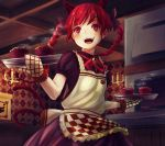 1girl alternate_color animal_ears apron bell blush bow braid candle cat_ears cat_tail ceiling checkered_apron commentary_request cowboy_shot dress extra_ears eyebrows_visible_through_hair eyelashes food hair_between_eyes hair_bow hair_ribbon hanging_scroll highres indoors jingle_bell kaenbyou_rin looking_to_the_side muffin multiple_tails neck_ribbon open_mouth oven oven_mitts puffy_short_sleeves puffy_sleeves purple_dress red_eyes red_ribbon redhead ribbon scroll short_hair short_sleeves solo steam tail torottye touhou tray tress_ribbon twin_braids upper_teeth wooden_ceiling