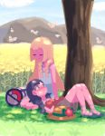 2girls absurdres bag bangs bare_shoulders black_hair blonde_hair blue_eyes blue_sky blunt_bangs braid closed_eyes clouds cutiefly deathroling dress field flower flower_field hat hat_flower highres lap_pillow lillie_(pokemon) long_hair lying mizuki_(pokemon_ultra_sm) multiple_girls no_hat no_headwear on_back pokemon pokemon_(creature) pokemon_(game) pokemon_ultra_sm red_flower sandals shadow shirt sitting sky sleeveless sleeveless_dress sleeveless_shirt sun_hat sweat tree twin_braids yellow_flower yuri