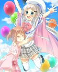 2girls absurdres arizuki_shiina arms_up blue_eyes brown_hair cape closed_eyes clouds dress fang floral_print hat highres hug jumping kud_wafter legs_up little_busters! long_hair multiple_girls noumi_kudryavka open_mouth outdoors pink_dress plaid plaid_skirt shirt skirt sky smile sundress thigh-highs white_cape white_legwear white_shirt
