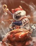 bell cat chicken_(food) closed_mouth crossed_arms felyne food fur hat highres jingle_bell kuroi_susumu looking_at_viewer meowscular_chef monster_hunter monster_hunter:_world no_humans npc one_eye_closed scar scar_across_eye scarf solo standing steam upper_body weapon weapon_on_back yellow_eyes