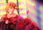 1girl ahoge arm_rest armchair bare_shoulders blonde_hair blurry blurry_background breasts chair cleavage collarbone depth_of_field dress elbow_gloves fate/extra fate_(series) flower fromchawen glint gloves green_eyes hair_flower hair_intakes hair_ornament head_tilt indoors jewelry light_rays looking_at_viewer medium_breasts necklace nero_claudius_(fate) nero_claudius_(fate)_(all) pearl_necklace petals red_dress red_flower red_gloves red_rose rose shawl signature sitting solo stained_glass strapless strapless_dress striped sunbeam sunlight tareme vertical-striped_dress vertical_stripes
