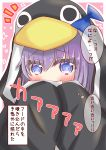 1girl animal_hood bangs black_jacket blue_bow blue_eyes blush bow commentary_request covering_mouth eyebrows_visible_through_hair fate/grand_order fate_(series) hair_between_eyes hands_up heart highres hood hood_up hooded_jacket jacket long_sleeves looking_at_viewer meltryllis meltryllis_(swimsuit_lancer)_(fate) notice_lines outline penguin_hood pink_background purple_hair ridy_(ri_sui) sleeves_past_fingers sleeves_past_wrists solo translation_request two-tone_background upper_body white_background white_outline