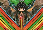 1girl abstract arm_cannon artist_request black_hair colorful long_hair looking_at_viewer reiuji_utsuho solo third_eye touhou weapon