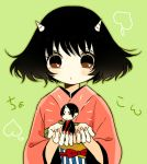 1boy 1girl bangs black_hair blush brown_eyes closed_mouth fingernails food fruit green_background holding hoozuki_(hoozuki_no_reitetsu) hoozuki_no_reitetsu horn horns japanese_clothes kimono long_sleeves miniboy nail_polish obi parted_bangs peach peach_maki pink_kimono pink_nails sash short_hair translation_request wide_sleeves yuu_(chucooooo)