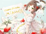 1girl :3 animal_ears aqua_background backless_outfit blush border bow bracelet breasts brown_hair cake cat_ears cat_tail cleavage daisy dress fake_animal_ears fake_tail fang flower flower_bracelet food food_themed_hair_ornament frilled_dress frills fruit green_bow green_eyes green_ribbon hair_bow hair_intakes hair_ornament hair_up happy_birthday heart heart_print holding holding_food huge_bow idolmaster idolmaster_cinderella_girls jewelry jitome large_breasts leg_ribbon light_particles looking_at_viewer looking_back maekawa_miku nail_polish open-back_dress open_mouth oversized_object ponytail puffy_short_sleeves puffy_sleeves ribbon shiratama_akane short_hair short_sleeves sign sitting slippers solo strapless strapless_dress strawberry strawberry_hair_ornament strawberry_shortcake tail tail_bow wavy_hair whipped_cream white_border white_bow white_dress white_slippers
