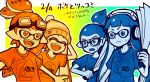 2boys 2girls :d ^_^ ^o^ blue_eyes blue_hair blue_shirt bobble-chan_(splatoon) bobblehat closed_eyes commentary_request domino_mask fan fangs frown glasses glasses-kun_(splatoon) goggle-kun_(splatoon) goggles goggles_on_head gradient gradient_background headphone-chan_(splatoon) headphones inkling kuuuuuuran mask multiple_boys multiple_girls open_mouth orange_eyes orange_hair orange_shirt paper_fan shirt smile splatoon splatoon_(manga) t-shirt tentacle_hair translation_request upper_body