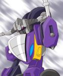 1boy autobot decepticon highres mwkc7247 no_humans sideways_(transformers) solo standing transformers transformers_armada upper_body violet_eyes wheel