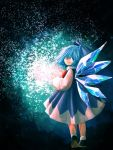 1girl black_footwear blue_bow blue_hair blue_skirt bow cirno from_behind full_body glowing hair_between_eyes hair_bow highres ice ice_wings komaku_juushoku light_smile long_sleeves looking_at_viewer magic red_neckwear shirt shoes short_hair skirt skirt_set snowflakes socks solo touhou walking white_legwear white_shirt wide_sleeves wings