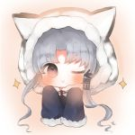 1girl ;) animal_ears animal_hood azur_lane bangs blue_coat blush chang_chun_(azur_lane) chibi closed_mouth cottontailtokki eyebrows_visible_through_hair fur-trimmed_hood fur_trim grey_hair hood hood_up hooded_coat long_hair long_sleeves looking_at_viewer one_eye_closed sidelocks sleeves_past_fingers sleeves_past_wrists smile solo sparkle tiger_ears tiger_hood