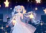 1girl :d bag bangs bare_shoulders blue_eyes blue_hair blush clouble collarbone commentary_request dress eyebrows_visible_through_hair hatsune_miku highres holding holding_star long_hair off-shoulder_dress off_shoulder open_mouth sidelocks sketch sleeves_past_wrists smile solo sparkle star twintails very_long_hair vocaloid white_dress