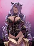 1girl arm_guards arms_at_sides between_breasts black_panties breasts camilla_(fire_emblem_if) capelet cleavage curly_hair faulds fire_emblem fire_emblem_if gloves gradient gradient_background hair_over_one_eye horns large_breasts lips long_hair looking_at_viewer mike_nesbitt panties parted_lips purple_gloves purple_hair revealing_clothes see-through signature solo standing sword tiara underwear very_long_hair violet_eyes weapon