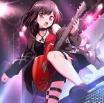 1girl :o bang_dream! bangs black_choker black_footwear black_hair black_jacket cable chain_necklace choker diffraction_spikes drawstring earrings electric_guitar guitar highres holding holding_instrument hood hooded_jacket instrument jacket jewelry keita_(kta0) mitake_ran multicolored_hair music off_shoulder pendant playing_instrument plectrum redhead screen shoes short_hair shorts side_slit solo speaker stage stage_lights standing_on_object thigh_strap v-shaped_eyebrows violet_eyes