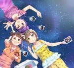 3girls :d bangle bow bracelet braid brown_eyes brown_hair coffee coffee_mug doughnut dress floral_print food green_eyes hair_bobbles hair_bow hair_ornament head_to_head jewelry kashiwagi_sumika kujou_ume multiple_girls open_mouth orange_hoodie outstretched_arm pastry_box photo_(object) pink_shirt pointing purple_dress purple_hair red_eyes saeki_hina shirt short_hair shorts sleeveless sleeveless_dress sleeveless_shirt smile star starry_background steam tokyo_7th_sisters twin_braids wanibuchi_emoko yellow_shirt yellow_shorts