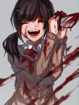 1girl :d ^_^ ^o^ bangs black_hair blood blood_on_face blood_splatter bloody_clothes bloody_knife blunt_bangs bow bowtie cardigan closed_eyes danjou_sora eyebrows_visible_through_hair grey_background happy holding holding_knife knife long_hair long_sleeves low_twintails motion_blur open_mouth original red_bow red_neckwear school_uniform simple_background smile solo teeth twintails two-handed upper_body
