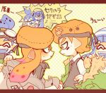 3boys 3girls :d ^_^ ^o^ army-kun_(splatoon) beret blue_hair bobble-chan_(splatoon) bobblehat closed_eyes commentary_request domino_mask emblem facepaint fish forge-chan_(splatoon) glasses-kun_(splatoon) goggle-kun_(splatoon) goggles goggles_on_head hat headphone-chan_(splatoon) inkling jacket jacket_removed kappaman mask multiple_boys multiple_girls open_mouth orange_eyes orange_hair pointy_ears smile splatoon splatoon_(manga) surprised tentacle_hair translation_request