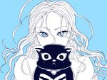 1girl blue_background blue_eyes camilla_hui_guo_rou cat hunter_x_hunter long_hair monochrome moriya_(re_mo_ria)
