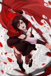 1girl :d attack bangs black_footwear boots bracer breasts brown_dress brown_hair brown_legwear cape commentary dress grey_eyes highres holding large_breasts long_sleeves motion_blur multicolored_hair nikusenpai open_mouth red_cape ruby_rose rwby scythe short_dress short_hair smile solo standing streaked_hair thigh-highs