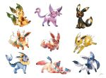 :d black_eyes blue_eyes bluekomadori brown_eyes commentary eevee espeon glaceon highres jolteon jumping leafeon no_humans open_mouth orange_eyes pokemon pokemon_(creature) pokemon_(game) pokemon_dppt pokemon_gsc pokemon_rgby pokemon_xy signature simple_background sitting smile standing sylveon umbreon vaporeon violet_eyes walking white_background