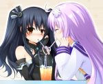 2girls ^_^ ahoge bare_shoulders black_gloves black_hair blue_sailor_collar blush breasts choujigen_game_neptune choujigen_game_neptune_mk2 closed_eyes cup doria_(5073726) drink drinking drinking_glass drinking_straw elbow_gloves eyebrows_visible_through_hair gloves hair_ornament hairpin halter_top halterneck hand_on_own_cheek happy heart heart_straw highres ice ice_cube long_hair long_sleeves multiple_girls nepgear neptune_(series) nose_blush pink_hair red_eyes sailor_collar shirt sidelocks simple_background sleeveless striped sweatdrop table twintails uni_(choujigen_game_neptune) upper_body v-shaped_eyebrows white_shirt wing_collar yellow_background yellow_neckwear yuri