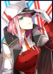 aqua_eyes dabadhi darling_in_the_franxx double-breasted eyebrows_visible_through_hair eyeshadow gloves hand_on_headwear hat highres holding holding_hat jacket_on_shoulders looking_to_the_side makeup military military_hat military_uniform orange_neckwear pink_hair shiny shiny_hair straight_hair uniform white_gloves zero_two_(darling_in_the_franxx)