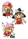 blonde_hair chibi fang flandre_scarlet hat itsuki_kuro knife red_eyes short_hair touhou witch_hat