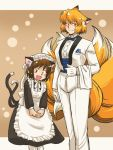 animal_ears azuki_osamitsu blonde_hair brown_eyes brown_hair butler cat_ears cat_tail chen earrings enmaided formal fox_ears fox_tail hat heterochromia jewelry kyuubi maid multi_tail multiple_tails short_hair shouzu_choukou tail touhou yakumo_ran yellow_eyes