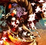 leaf leaves mirror mochinu purple_hair red_eyes rope short_hair touhou yasaka_kanako